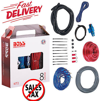 8 Gauge Amplifier Installation Kit Power Wiring Cable Sub Speaker Wire Subwoofer
