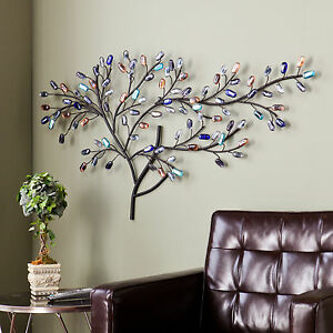 Willow multi color Metal Glass Tree Wall Sculpture Decor Art Hanging Accent Home