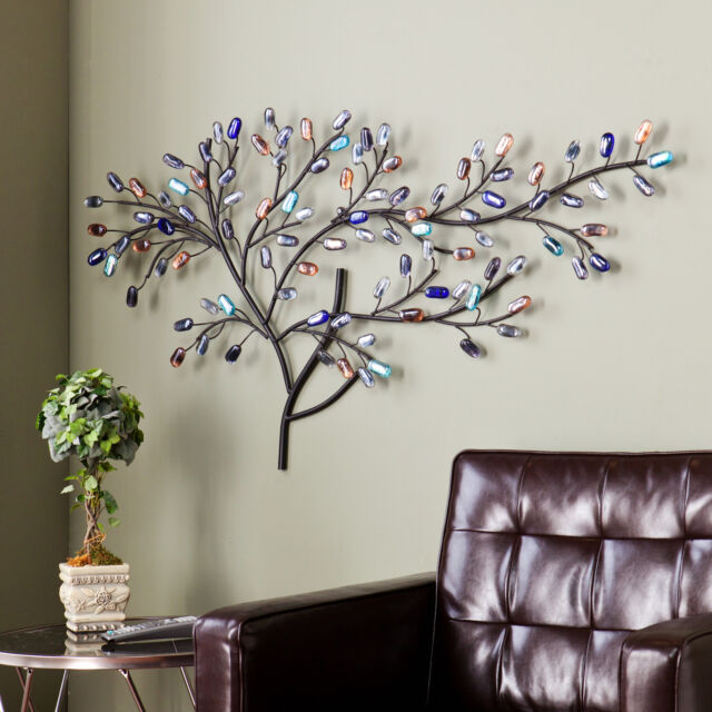 Metal Wall Art Tree metal wall art tree weeping willow multi color glass sculpture