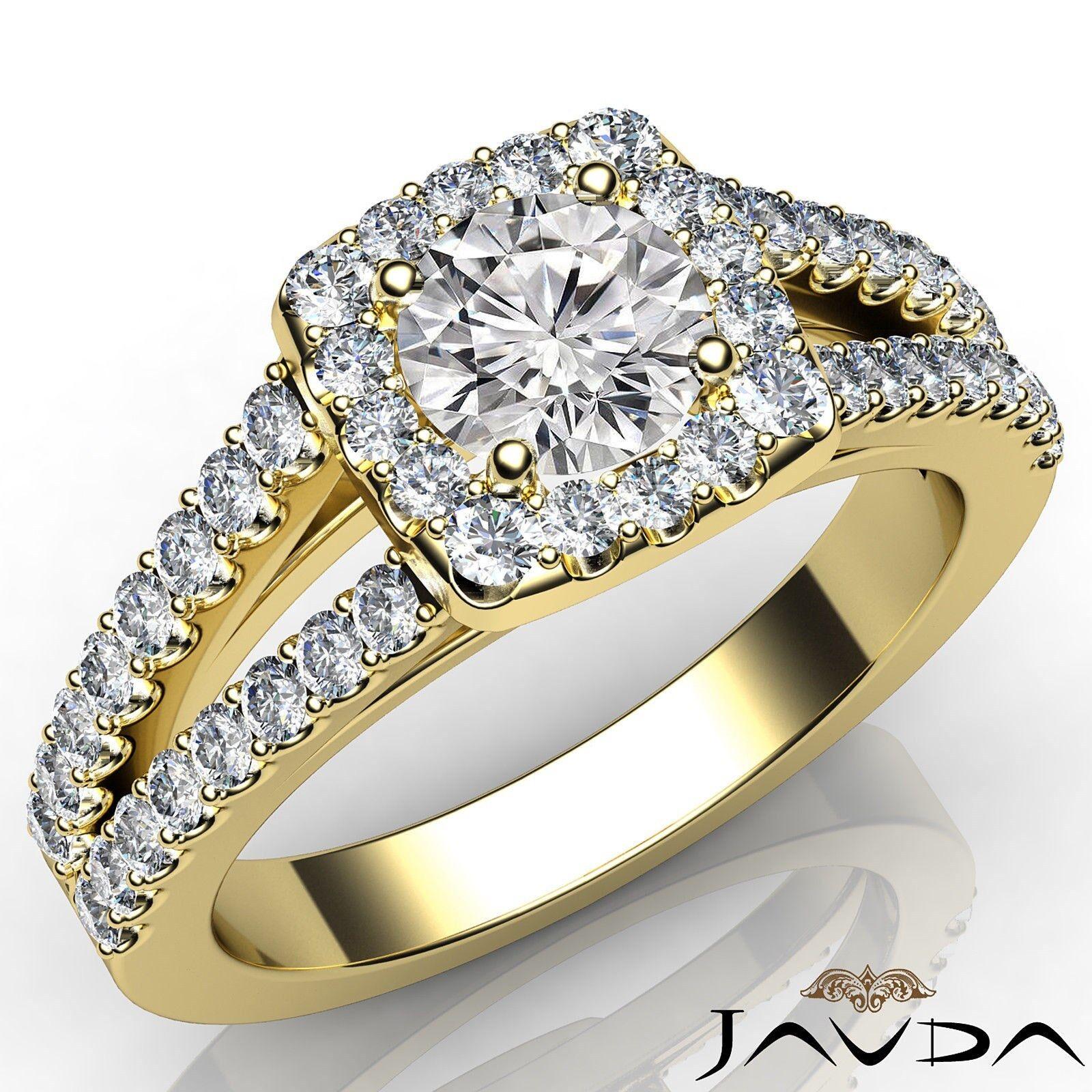 Halo Split Shank U Pave Set Round Diamond Engagement Ring GIA F VVS1 1 /1/4Ct.
