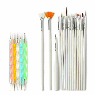 20 pcs Nail Art Gel Design Pen Painting Polish Brush Dotting Drawing Tools Set Health & Beauty