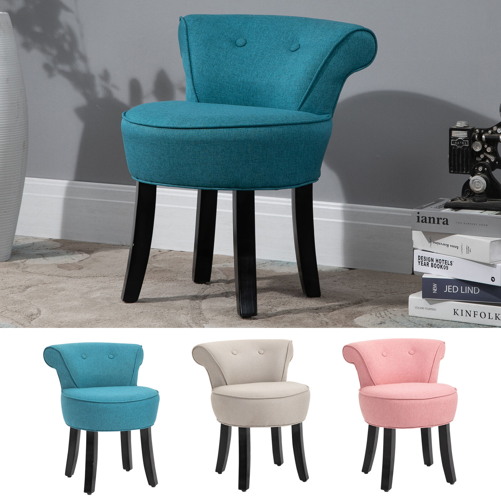 Small Accent Vanity Chair with Low-Back Cushion and Anti-Skid Feet