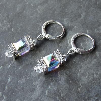 Cube Sterling Silver Earrings - *SJ1* Sterling Silver Hoop Dangle Earrings w/ AB Swarovski Crystal Cube