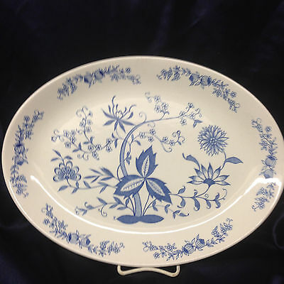 """ANFORA MEXICO AZULEJO OVAL SERVING PLATTER 15"""" BLUE FLOWERS & ONIONS"""