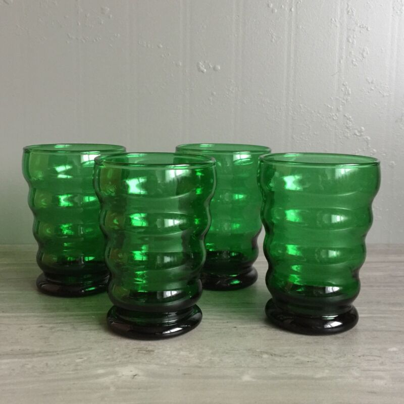 4 Vtg AH Forest Green Whirly Twirly Art Deco Beehive 8oz Drinking Glasses