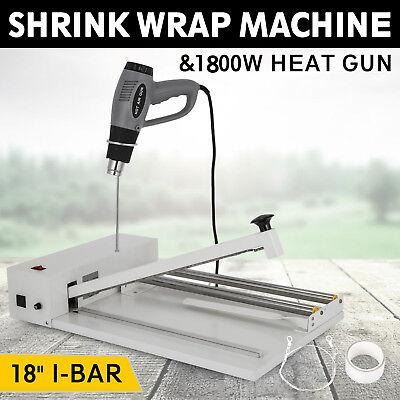 18inch I-bar Shrink Wrap Machine Heat Sealer W Heat Gun Food Soap Instant Seal