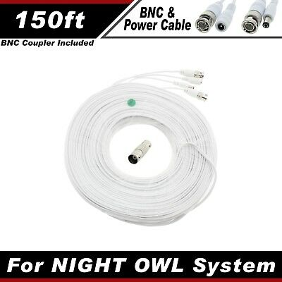 PREMIUM 150Ft HIGH QUALITY THICK BNC EXTENSION CABLES FOR NIGHT OWL SYSTEM WITHE