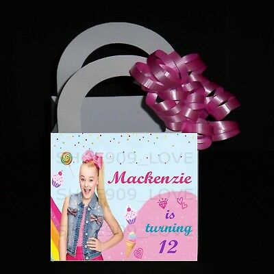 Personalized Favor Bags (JOJO SIWA Personalized 12 Favor Boxes Birthday Party  3