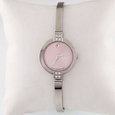 Movado Stainless Steel Bela Watch w/ Pink Dial and Diamond Accents 84.A1.1830.S