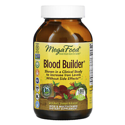 MegaFood Blood Builder 180 Tablets Dairy-Free, Kosher, Non-GMO, NSF Certified,
