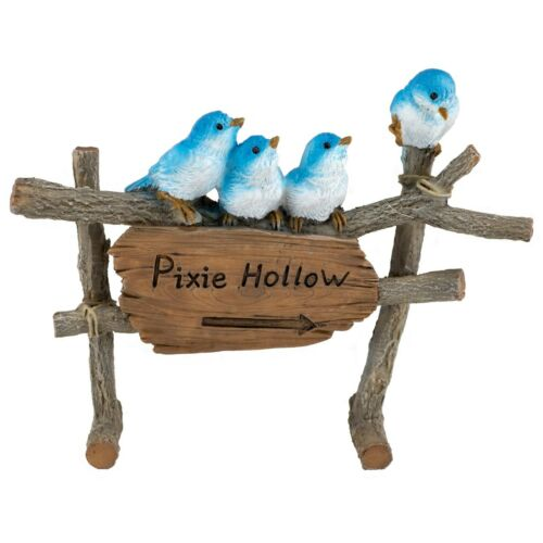 "Four Mini Bluebirds On Fence Figurine Pixie Hollow 5"" Long Resin New In Box!"