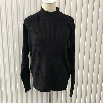 80s Sweatshirts, Sweaters, Vests | Women Vintage Sussan Black Ribbed Acrylic Jumper Turtle Neck Size M $14.10 AT vintagedancer.com