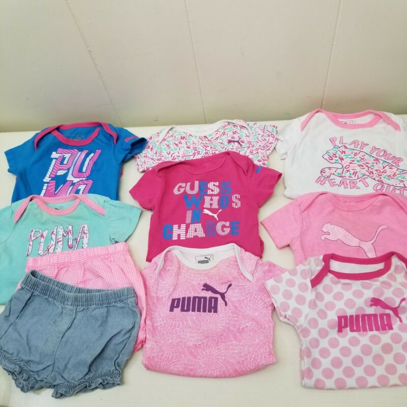 8 Puma 3 6 Months Bodysuits Carters 2 Shorts Lot Baby Girl