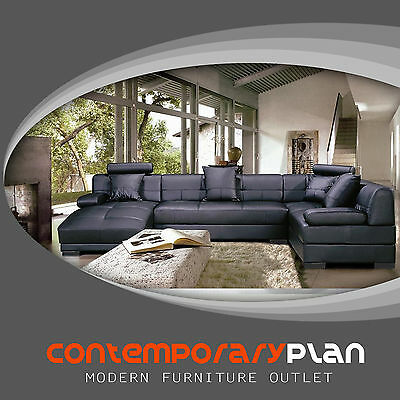 (Contemporary Italian Design Black Sectional Sofa w/ Adjustable Headrest - Chaise)