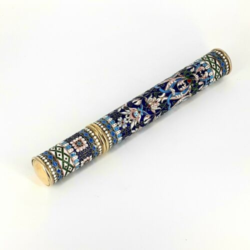 Antique Vintage Russian Silver Enamel Cigar Holder Case