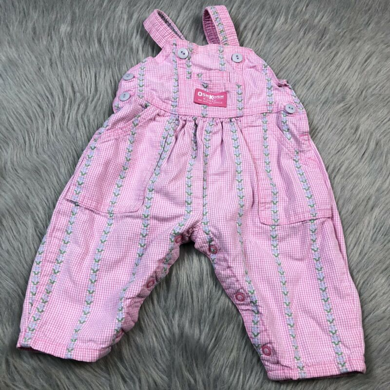 Vintage Baby Girls Oshkosh Bgosh Pink Floral Checkered Overalls