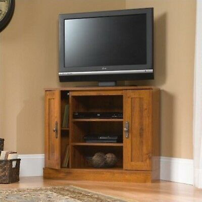 Corner TV Stand Flat Screen Entertainment Wood Oak Center Console Media Cabinet , used for sale  USA