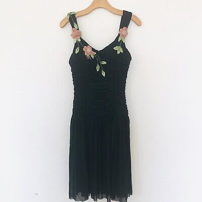 SUE WONG Size 8 Black Sequin Beaded Floral Ruched Sleeveless Cocktail Dress - Beaded Ruched Prom Dress