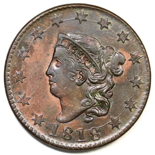 1818 N-10 Matron or Coronet Head Large Cent Coin 1c