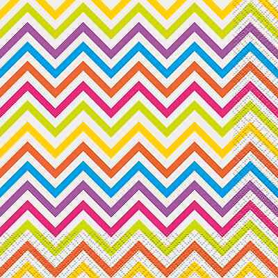 Chevron Party Supplies (RAINBOW CHEVRON LUNCH NAPKINS (16) ~ Birthday Party Supplies Dinner Serviettes)