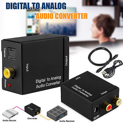 Digital Coaxial Toslink Optical to Analog L/R RCA Audio Converter Adapter Cable