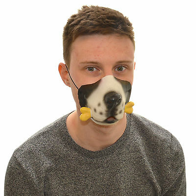 Half Face Dog And Bone Funny Fancy Dress Latex Mask For Kids & Adults - Half And Half Face Halloween