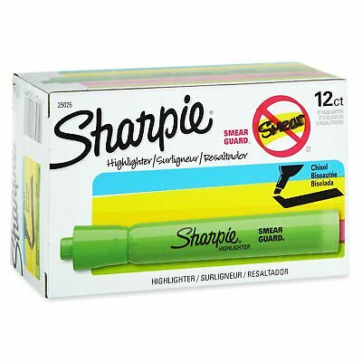 Sharpie Tank Style Highlighters, Chisel Tip, Fluorescent Green, 12 Count