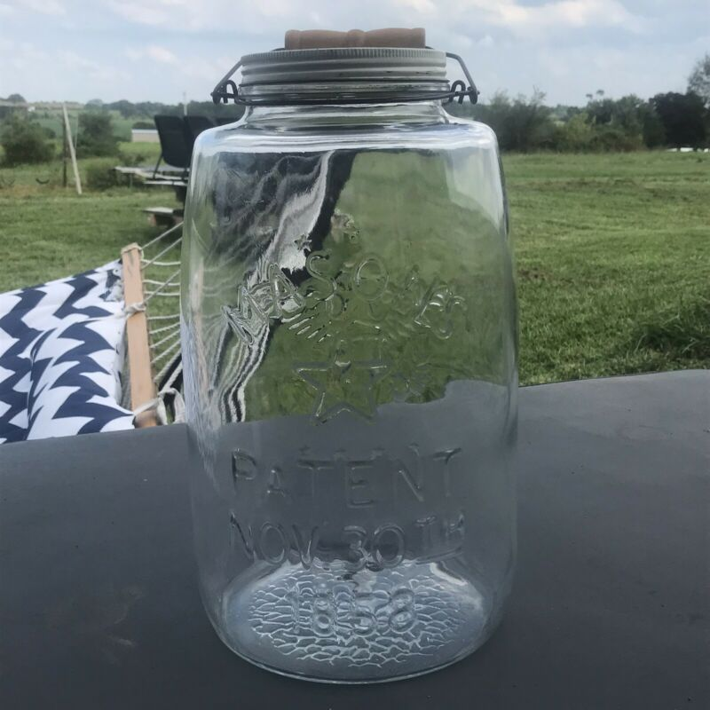 Vintage GIANT Pickle Jar With Lid Mason