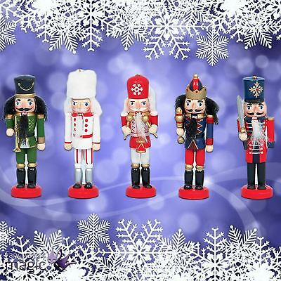 Set of 5 13cm Christmas Nutcracker Wooden Guard Soldier Hanging Tree Decorations