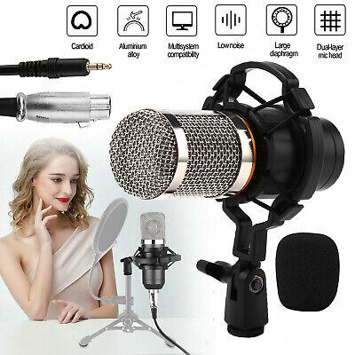 Professional Podcast Studio Condenser Microphone Recording Mic Kit w/Shock Mount