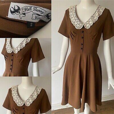 Hell Bunny Grunge Rockabilly Lace Peter Pan Collar Vixen Brown Tea Dress S 8 36 online kaufen