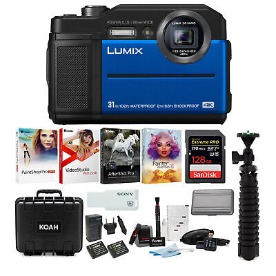 Panasonic LUMIX TS7 Waterproof Tough Digital Camera (Blue) Ultimate Bundle
