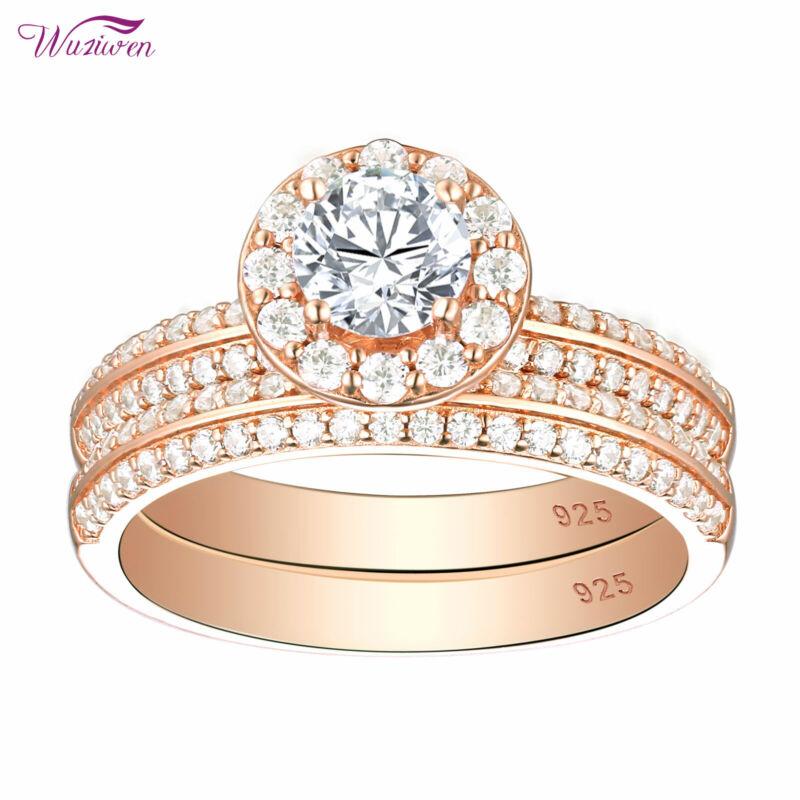 Wuziwen Engagement Wedding Ring Set Rose Gold Round White Cz 925 Sterling Silver