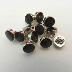 5 x dress shirt buttons black with silver trim shank on back 8mm