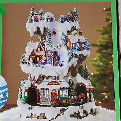 "LED Animated Musical Santa's Village Light Up 18"" Christmas Tabletop Decor New"