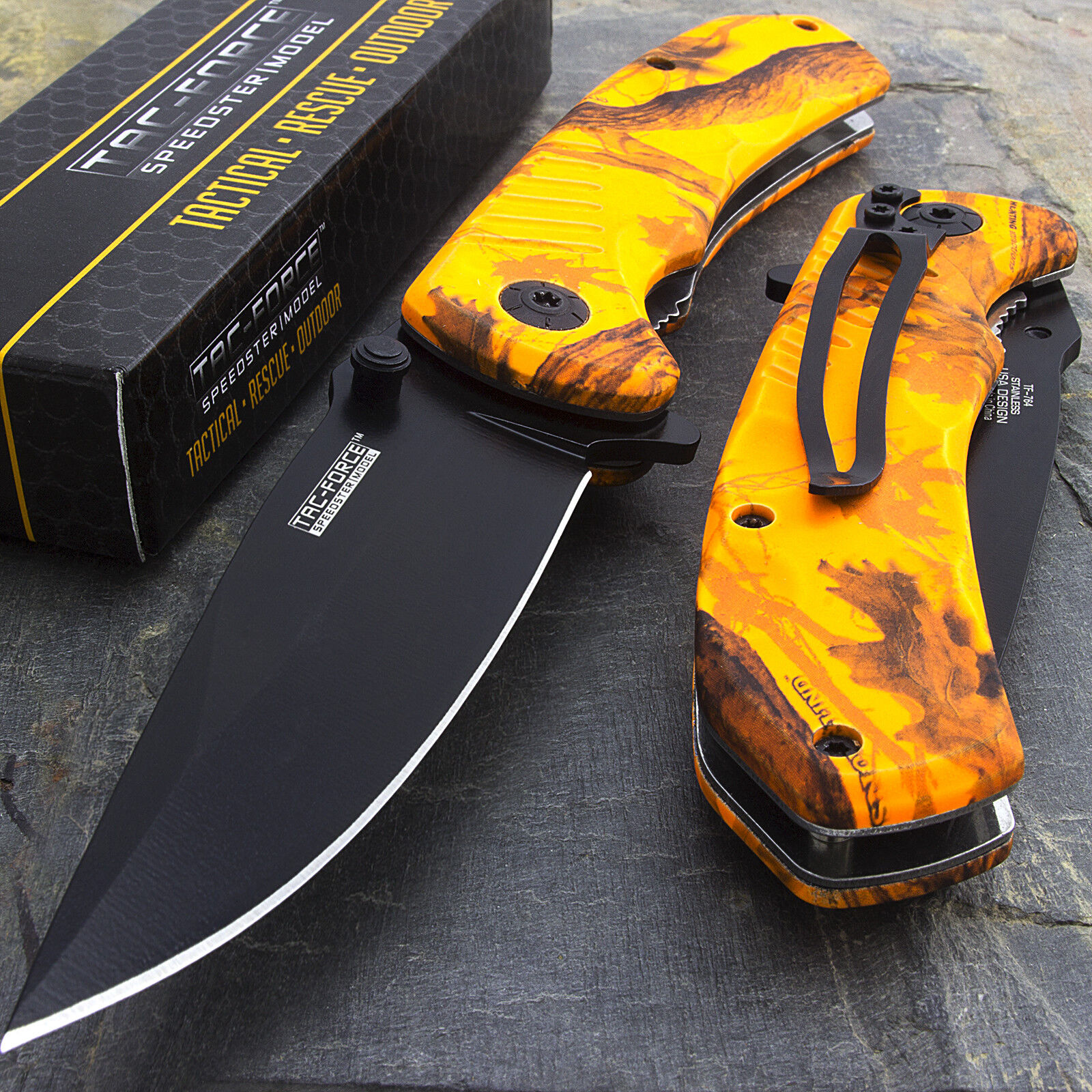 Купить Tac-Force - 8 TAC FORCE EDC ORANGE CAMO SPRING ASSISTED TACTICAL POCKET KNIFE Blade Assist
