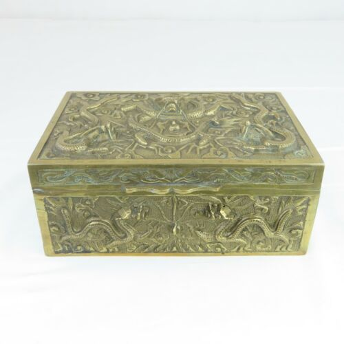 Antique Chinese Brass Box Dragon Motif Humidor / Jewelry Box 1930s?