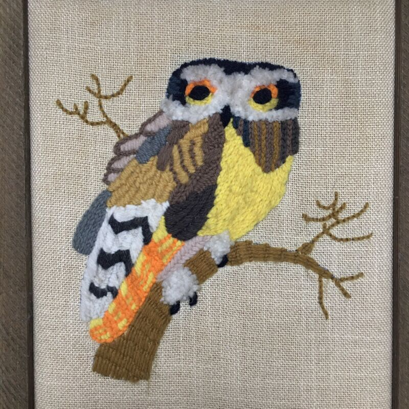 Owl Needlepoint Finished Crewel Textured Linen Canvas Picture Wall Art Framed