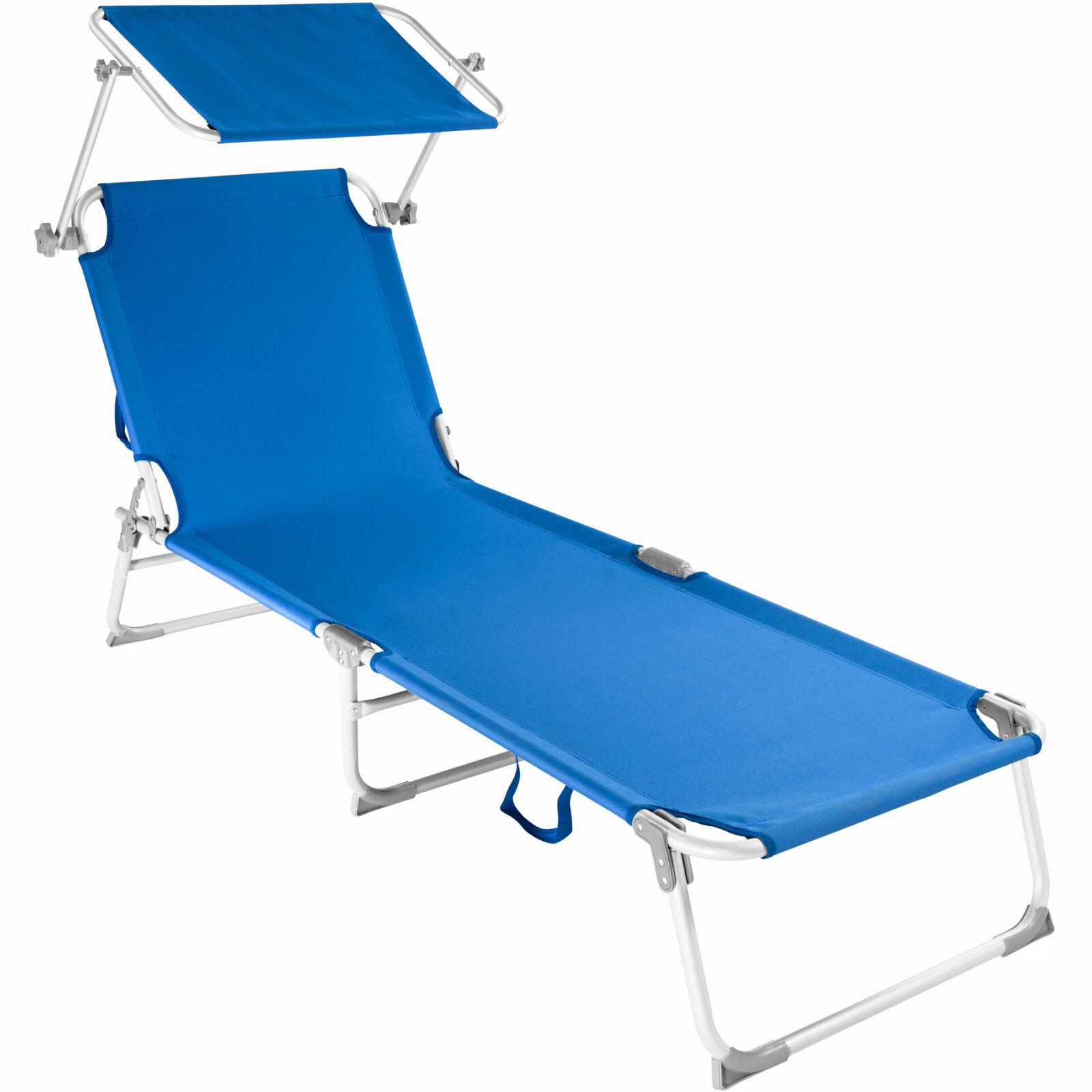 Alu Gartenliege Sonnenliege Liegestuhl Liege klappbar mit Dach 190cm blau