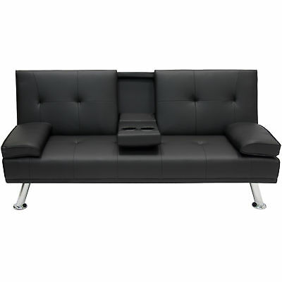 Entertainment Furniture Futon Sofa Bed Fold Up Down Recliner Couch Cup Holders