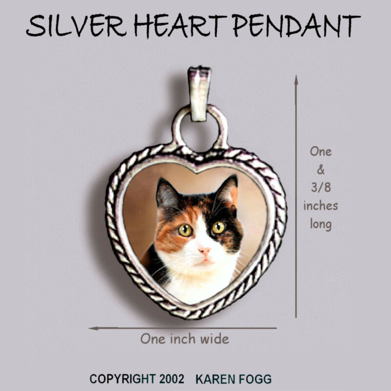 CALICO SHORTHAIR CAT - Ornate HEART PENDANT Tibetan Silver