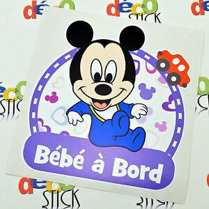 sticker b b bord mickey autocollant enfant cadeau naissance neuf auto ebay. Black Bedroom Furniture Sets. Home Design Ideas