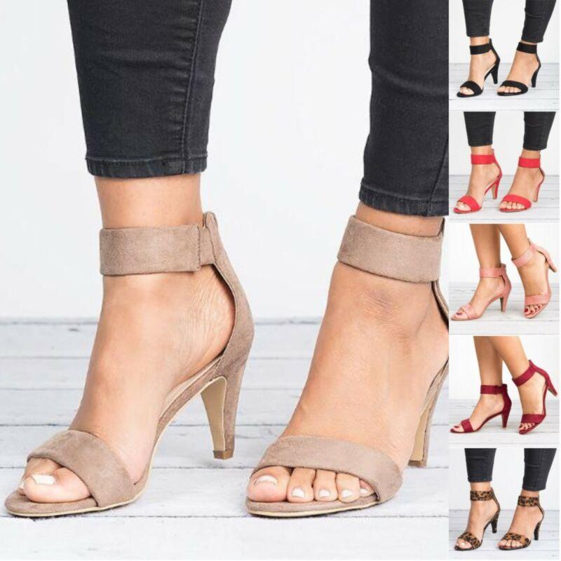 Women's Mid Low Block Heel Sandals Ankle Strap Work Smart Su