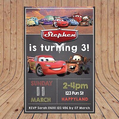 Cars Birthday Invitations (Personalised  DISNEY CARS Birthday Invites Invitations DIGITAL YOU)