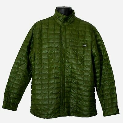 The North Face Mens Quilted Jacket Green Size L Large Long Sleeve Snap Button