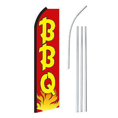 Bbq Redyel - Advertising Sign Swooper Feather Banner Flag Pole Only