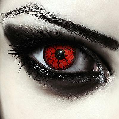 Rote Monster Vampir Kontaktlinsen für Halloween Karneval Kostüm rot Red Monster