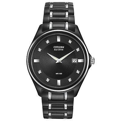 Citizen Eco-Drive Men's Diamond Accents Black Bracelet 40mm Watch AU1054-54G
