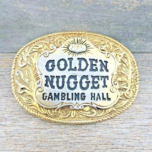 GOLDEN NUGGET Gambling Hall Large Gold Tone Casino Las Vegas BELT BUCKLE Vintage