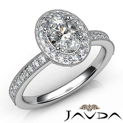 Milgrain Halo Pave Bezel Set Oval Diamond Engagement Ring GIA E Color SI1 1 Ct